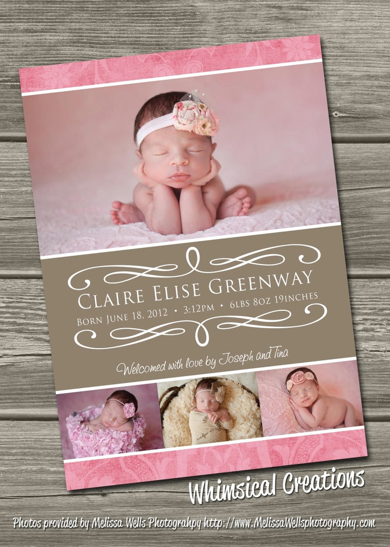 Baby Girl Birth Announcement Digital File Delilah  I image 0