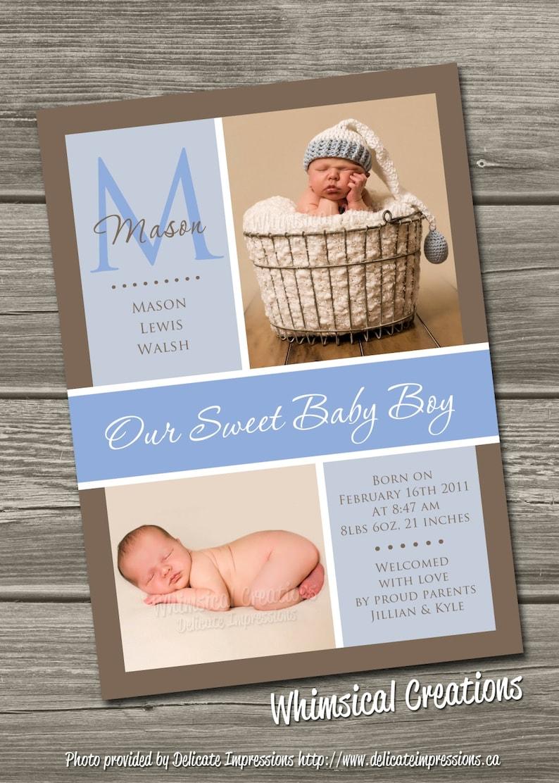 Baby Boy Birth Announcement Digital File Hudson  I Design image 0
