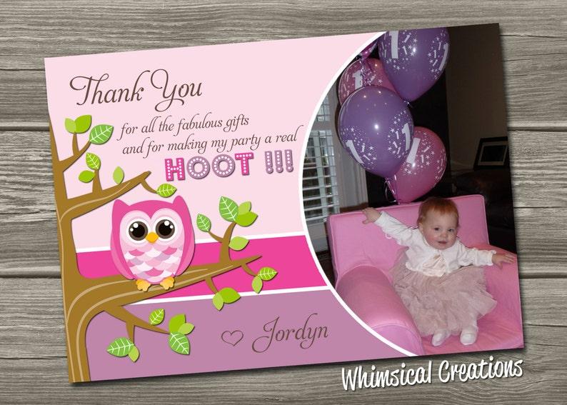 Owl Thank You Card Digital File Owl Birthday Thank You Card image 0