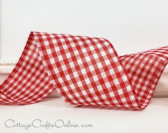 TEN YARDS ~ Red Great Gingham 4010 ~ Craft Wire Edged Ribbon Wired Ribbon 2 12 Red and White Check Gingham Plaid