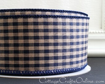 Blue Wire Edged SUPER VALUE Offray Spring Nautical Navy and White Gingham Check Plaid 2 12 x Fifty Yard Roll Wired Ribbon July 4th