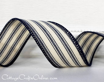 "1.5/"" BLUE AND CREAM TICKING STRIPE COUNTRY PRIMITIVE WIRED RIBBON-1,10 YARD ROLL"
