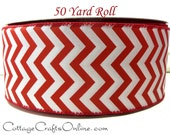 Christmas Wired Ribbon, 2 1 2 quot wide, Red and White Chevron Stripe - FIFTY YARD ROLL - quot Peppermint Chevron quot , Wire Edged Ribbon