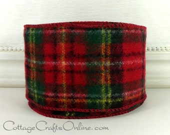 christmas wired ribbon 2 12 wide tartan plaid red and green flannel style ten yard roll d stevens scottish plaid craft decor ribbon
