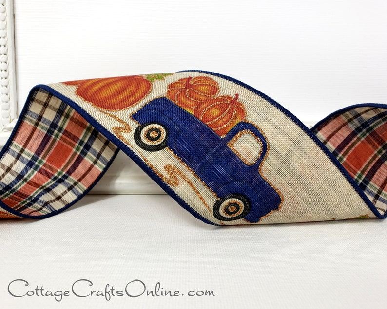 Wired Fall Ribbon  2 1/2 Pumpkins in Navy Blue Truck image 0