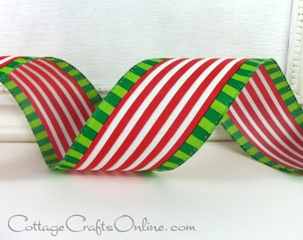 "Christmas Wired Ribbon, 2 1/2"", Red White Stripe, Lime Green Striped Edge - TEN YARD ROLL -  ""Candy Cane Holiday"" Christmas Ribbon"
