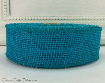 """Burlap Wired Ribbon, 1 1/2"""" Wide, Turquoise Blue Natural Jute, TEN YARD Roll, Spring, Easter, Summer, Wire Edged Ribbon"""