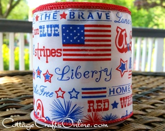 """Wired Ribbon, 4"""", Patriotic Land of the Free Script Red, White and Blue - TEN YARD Roll - """"Liberty 4"""" July 4th Wire Edged Ribbon"""