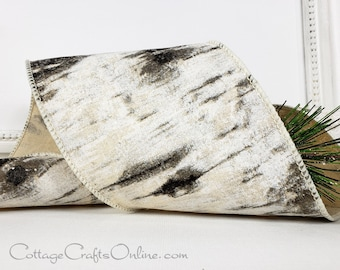 "Christmas Wired Ribbon, 4"", Birch Bark Look, Glitter - TEN YARD ROLL ~ Winter Birch 100 ~ Winter Forest Cabin Wired Edged Ribbon"