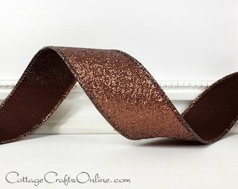 "Wired Ribbon, 1 1/2"", Brown Glittering Metallic - TEN YARD ROLL - d. Stevens ~ Vintage Glitter ~ Fall, Autumn Thanksgiving Wire Edged Ribbon"