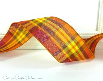 "Wired Ribbon, 2 1/2""  Fall Plaid Orange, Yellow, Brown , Red - THREE YARD ROLL ~ Abundance 40R ~ Thanksgiving, Craft Decor Wire Edge Ribbon"