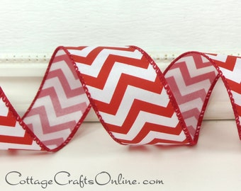 "Wired Ribbon, 1 1/2"",  Red and White Chevron Stripe - THREE YARDS - Zig Zag Candy Striped, Christmas, July 4th, Valentine Wire Edged Ribbon"