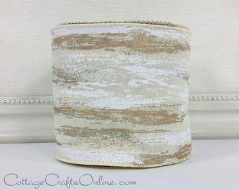 """Christmas Wired Ribbon, 4"""", Frosted Birch Bark Look, Glitter TEN YARD ROLL, d Stevens, Birch """"Cream"""" Winter Holiday Wired Edged Ribbon"""