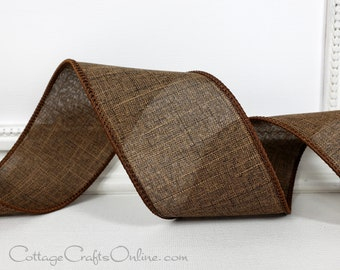 """Fall Wired Ribbon, 2 1/2"""", Chocolate Brown Faux Linen - TEN YARD ROLL  ~ Divinely Royal Bark ~ Thanksgiving, Autumn Wire Edged Ribbon"""