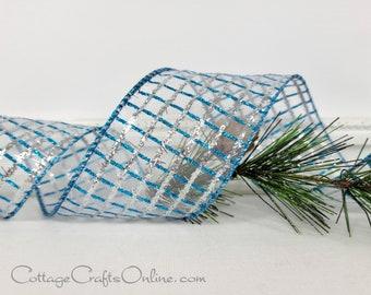 "Wired Ribbon, 2 1/2"" Turquoise Blue,  Silver Glitter Grid Check - TEN YARD ROLL ~ Valet Aqua ~ Christmas, Hanukkah Sheer Wire Edged Ribbon"