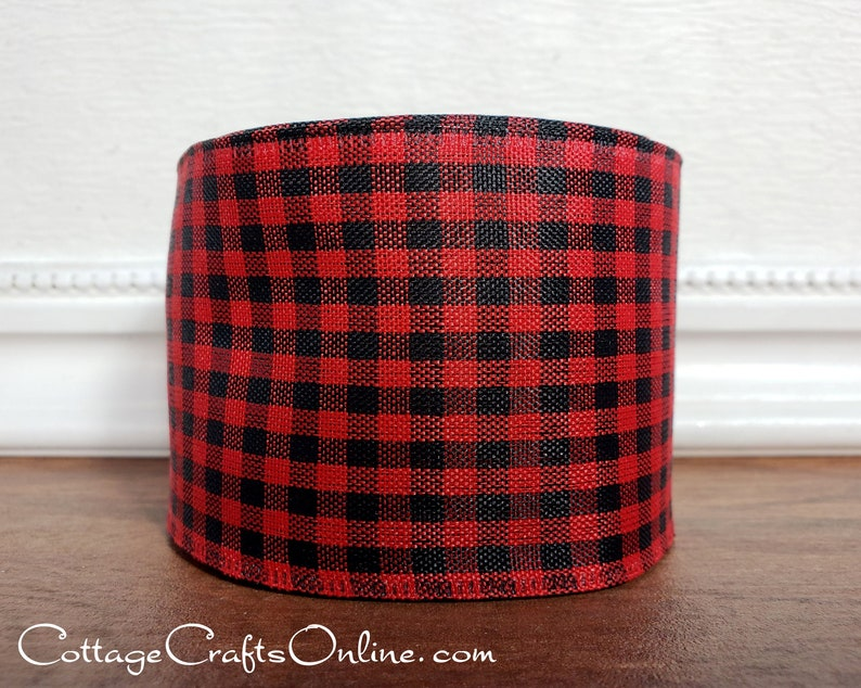 Christmas  Wired Ribbon 2 1/2 Red and Black Check image 0