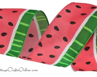 """Wired Ribbon, 2 1/2"""" wide, TEN YARD ROLL, Watermelon Print ~ Seedmour 540 ~ Spring, Summer Fruit, Garden, Picnic Wire Edged Ribbon"""