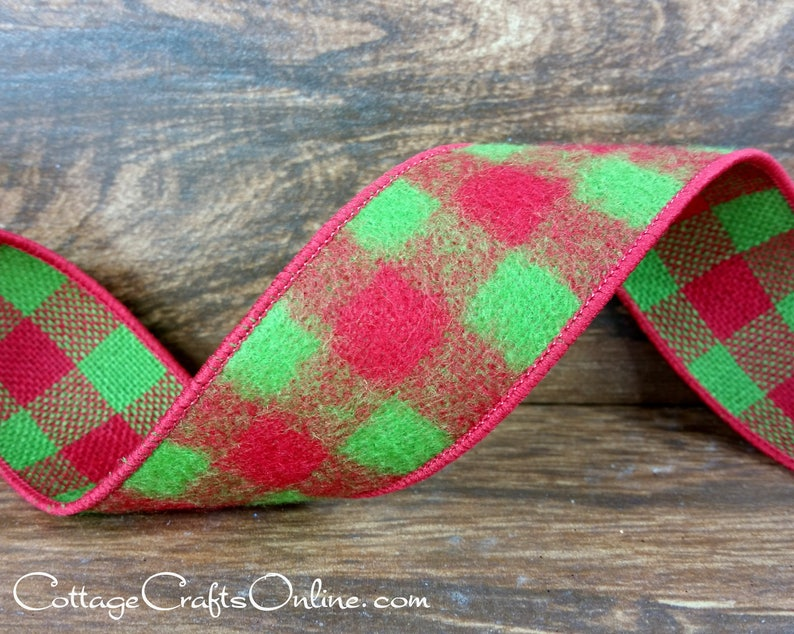 Buffalo Plaid  Christmas Wired Ribbon 1 1/2 Red Lime image 0