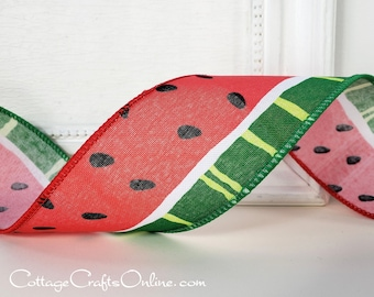 """Wired Ribbon, 2 1/2"""" wide, Watermelon - THREE YARDS - Offray ~ Seemour 3 ~ Spring, Summer Fruit, Picnic Wire Edged Ribbon"""