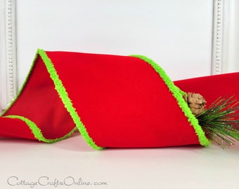 """Christmas Wired Ribbon, 4"""", Red Velvet with Lime Green Chenille Edges - TEN YARD ROLL ~ Snowdrift ~  Wide Holiday Craft Wired Edge Ribbon"""