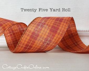 "Fall Wired Ribbon, 2 1/2"" Orange, Brick Red, Gold Metallic Plaid - Twenty Five Yard Roll -  ""Lush"" Thanksgiving Wire Edged"
