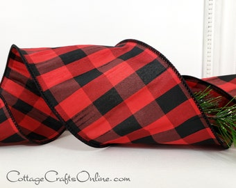 """Buffalo Check Wired Ribbon, 4"""", Black, Red, Faux Silk Dupioni Plaid ~ TEN YARD ROLL ~ Abner Red 100 ~ Christmas, Valentine Wire Edged Ribbon"""