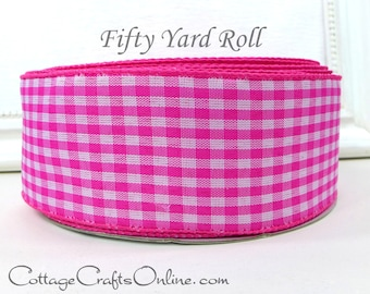 """Wired Ribbon, 2 1/2"""" x Fifty Yard Roll, Pink White Gingham Check Plaid - Offray, Summer, Spring, Easter, Wire Edged Ribbon"""