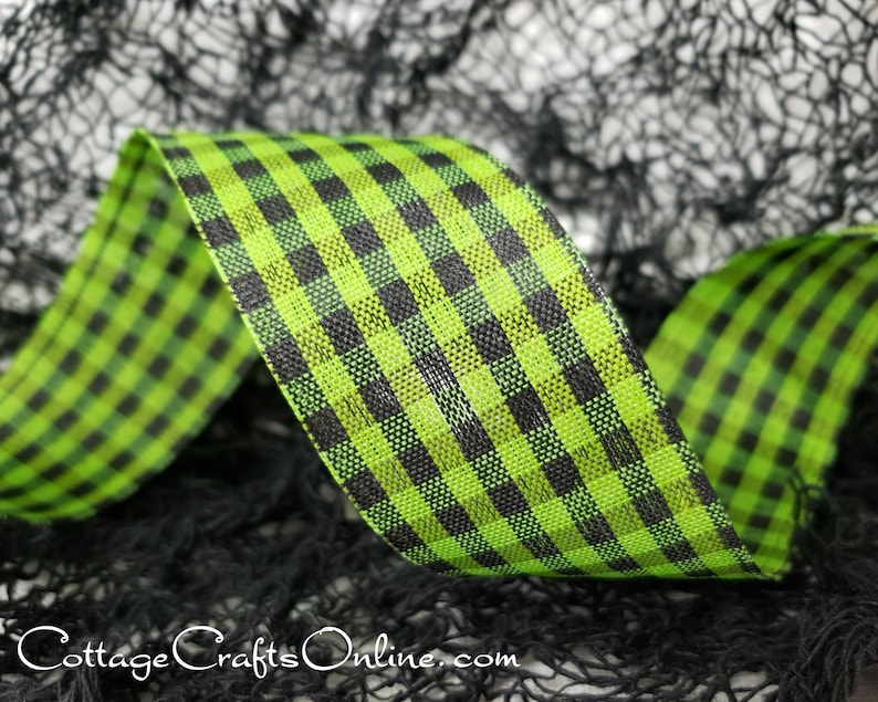 Halloween Wired Ribbon 1 1/2 Black and Lime Green image 0