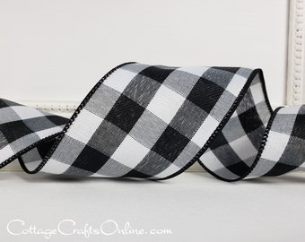 """Buffalo Plaid Wired Ribbon, 2 1/2"""" wide, White and Black Check - THREE YARDS - """"Celine Twill 40""""  Craft 2.5"""" Wire Edged Ribbon"""