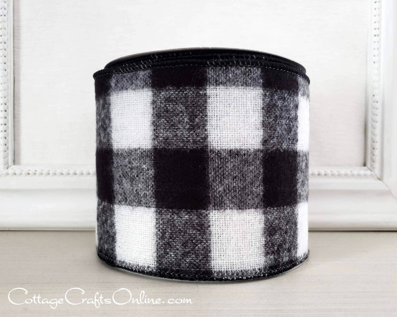 Buffalo Plaid Wired Ribbon 4 Black and White Flannel  image 0