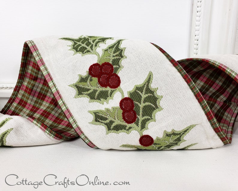Christmas Wired Ribbon 4 Holly Berry Embroidered image 1