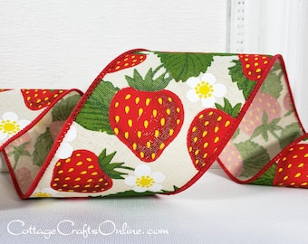 """Wired Ribbon, TEN YARD ROLL, 2 1/2"""" wide, Red Strawberries Print, """"Strawberry Cream"""" Spring, Summer, Fruit Print Wire Edged Ribbon"""