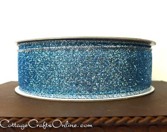 """Wired Ribbon, 1 1/2"""" wide, Blue Glitter - THREE YARDS - Offray, """"Blue Sugar""""  Christmas, Easter Craft Wire Edged Ribbon"""