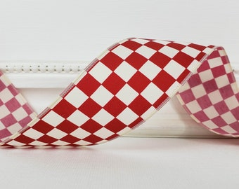 """Wired Ribbon, 1 1/2"""" wide,  Burgundy Red and Ivory Check, THIRTY THREE YARD Roll ~ Mini Check Burgundy 9 ~  July 4th, Christmas, Summer"""