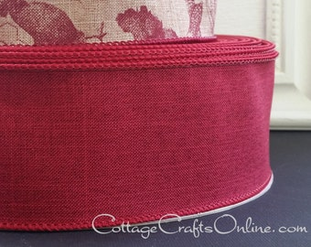 """Wired Ribbon, 2 1/2"""", Burgundy Faux Linen - THREE YARDS  - Offray """"Divine"""" Christmas, Thanksgiving, Fall, Summer Wire Edged Ribbon"""