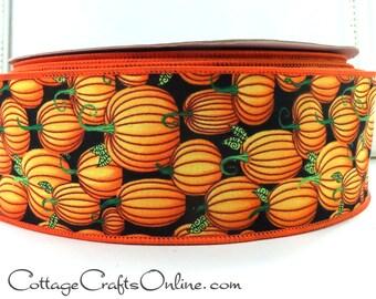 "Halloween Wired Edge Ribbon, 2 1/2"", Orange Pumpkin Print on Black Cotton- THREE YARDS -  ""Pumpkins All""  Craft, Decor Wired Ribbon"