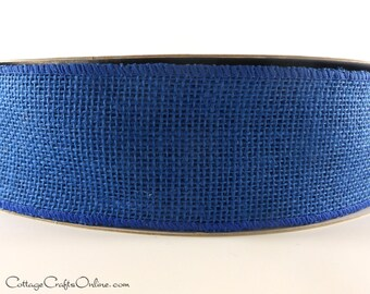 "Burlap Wired Ribbon, 2 1/2"" Royal Blue Natural Jute, TEN YARD Roll - Craft  Wire Edged Ribbon"
