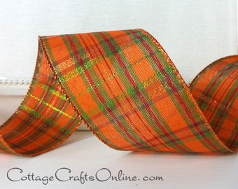 """Wired Ribbon, 2 1/2"""" Orange, Green, Cranberry Red, Green, Copper Metallic Plaid - THREE YARDS - """"Fran"""" Fall, Thanksgiving Wire Edged Ribbon"""