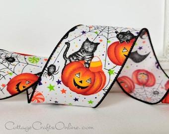 "Halloween Wired Ribbon, 2 1/2""  Black Cat, Owls, Pumpkins - TEN YARD ROLL  ~  Cats & Owls ~  Jack O'Lantern Wire Edged Ribbon"