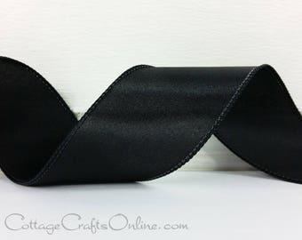 "Wired Ribbon, 2 1/2"" wide, Black Satin  - THREE YARDS - ""Courtly Black"" Wedding, Prom, Halloween Craft Wire Edged Ribbon"