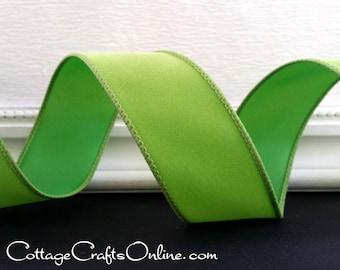 """Christmas Wired Ribbon, 1 1/2""""  Lime Green Velvet - THREE YARDS -  """"Velvet Citrus"""" Halloween, Holiday, Xmas Velvet Wire Edged Ribbon"""