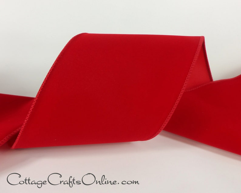 Christmas Wired Ribbon 4 Red Velvet Style   THREE image 0