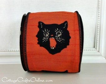 "Halloween Wired Ribbon, 4"" Black Cat on Orange  - TEN YARD ROLL - d. stevens, ""Scary Cat"" Faux Dupioni, Flocked, Wire Edged Ribbon"