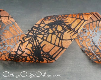 "Halloween Ribbon, 2"" wide, Black Velvet Spider Web Orange Sheer - THIRTY YARD Roll -  May Arts ""Spiderweb Sheer"" Craft Ribbon Trim"