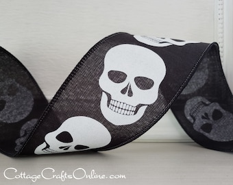 "Halloween Wired Ribbon, 2 1/2"" White Skulls on Black  - TEN YARD ROLL -  ""Skulls Ahead"" Wire Edged Craft Ribbon"