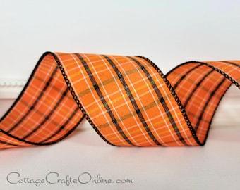 "Halloween Wired Ribbon, 2 1/2""  Orange and Black Plaid Check, White Stitch  - TEN YARD ROLL ~  Taunton ~ Plaid Wire Edged Ribbon"