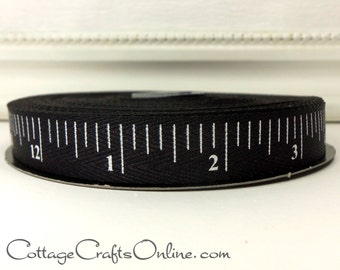 "Twill Ribbon, 5/8"" wide, Black White Measuring Tape Print - TWENTY FIVE YARD Roll - d. stevens, Black Measure Tape"" Twill Tape Ruler Ribbon"