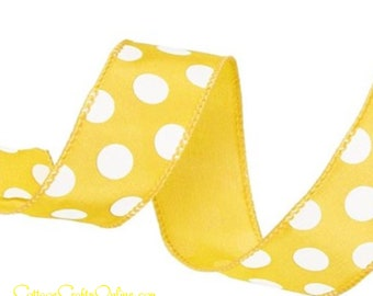 """Wired Ribbon, 1 1/2"""", Yellow with White Polka Dots - TEN YARDS ~ Large Dot ~ Summer, Spring, Mother's Day, Easter, Wired Edge Ribbon"""