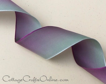"""Wired Ribbon 1 3/8"""" wide, Purple fading to Sage Green Ombre - TEN YARD ROLL  ~ Pistachio ~ Flower Ribbon Craft, Fall Wire Edged Ribbon"""
