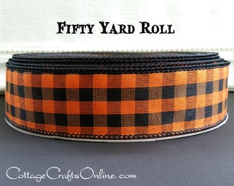 """Halloween Wired Ribbon 1 1/2"""", Orange and Black Gingham Check - FIFTY YARD ROLL - Offray  Plaid Wired Edged Ribbon"""